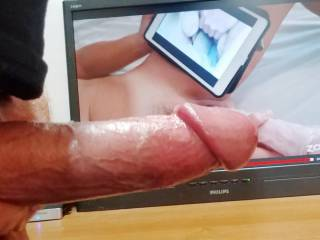 Watching mendezp slide her big toy deep inside her tasty pussy while watching my cum tribute vid got me soo hard I could not help but start stroking after hearing her sexy moans! More to Cum!