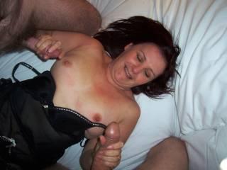 slut wife enjoying 2 cocks