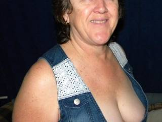 showing off her tits at a swingers BBQ we were at