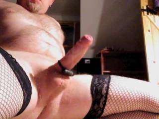 Fucking my fleshlight, wearing stockings, I was wanking to bisexual porn and shot my cum really hard.