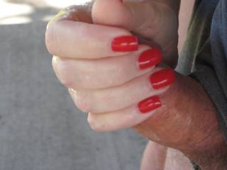 Oh yes!! Love your red fingernails around his cock