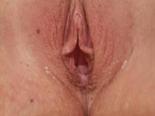 Wife's open pussy after using her huge dildo