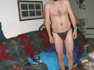 another full frontal pic of me wearing my black thong after a major wet toy play session in March of 07.