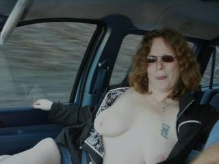 More of my wife flashing on last road trip.  She got so horny flashing and putting on shows from truckers.