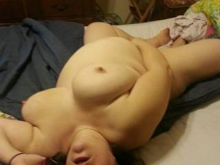 That is hot.  We would love to suck her big, beautiful tits while she played with her hot, wet, pussy...