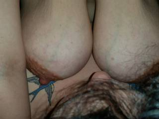 Kitties huge tits swinging as they beat me in the face as she rides my cock. I could die with those wrapped around my face and the smile would never leave.