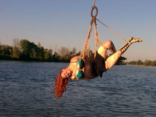Hanging out in a pretty bra and rope...