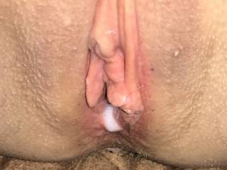Cum dripping out. Want to clean it up? Or add more?
