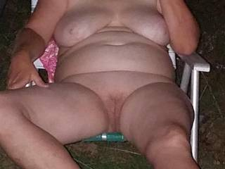 just wife kicking back in the yard