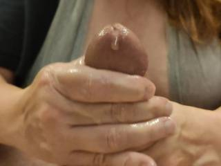 Ladies... Isn't great when your work pays off? Look at my man's wonderful cum as it starts to be released from his wonderful hard, thick cock. Mmm...