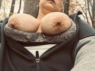 Dogging in the woods, up against a tree, vibrator on my Clit....