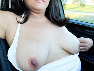 Just out for a drive with my tits out!