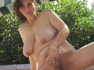 Beautiful.  Sexy face & hair,  & love the fullsome body, ripe hanging very natural breasts.  Delicious pussy.  Wish I was there to enjoy!