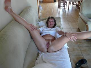Love looking at another guys wife on her back with her legs spread wide
