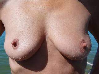 my wifes tits, not horny, cold ;-)