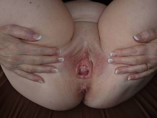 My request is for you to allow me to come over and eat your fabulous pussy...is there any hope for me that you will fill my request too?  :-)   It's a spectacular picture of your amazing pussy and I'm sure that lots of guys will be sending you their tributes on it. Everything in this picture is superbly sexy...even your finger-nails!