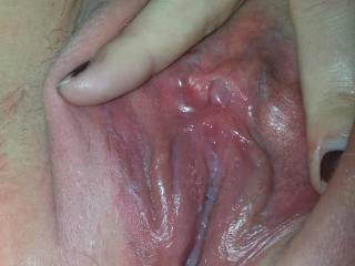 If I only could lick that gorgeous pussy to make it even wetter, then slide my thick cock deep inside you and fuck you until I give you a sweet, lovely creampie to enjoy before fucking you again, and again, and again... ;)