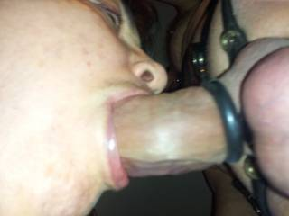she sure knows how to work a cock....and a nice cock and balls it is too!!