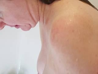 Rub a Dub Dub. I'd love to give your sexy tits a scrub.