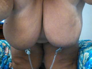 huge clamped nipples hanging