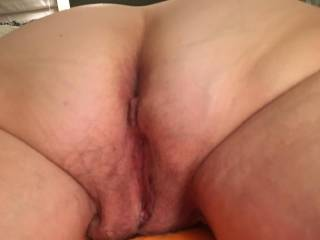 Lovely GF showing her lovely ass and pussy, waiting for me to cum all over her ass. Love her bush