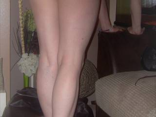 me knickerless in my heels with my tiny pvc skirt on x