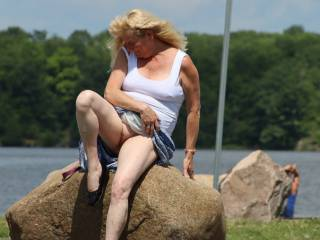 I dared Johanne to flash her pussy in the park, by the boat ramp & she did!