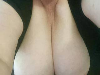 Wife's tits out for a view.