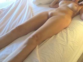 neighbor shows her shaved pussy