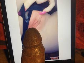 the tip of this throbbing bbc fucking her sweet pink pussy. mmmmmmmm 😘