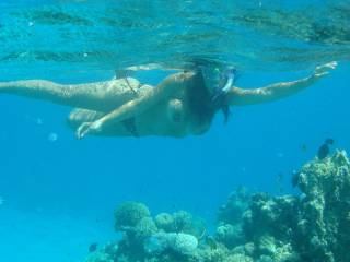Wish I was there. It would be totally nude snorkeling. I just hope I can keep my nose above water. While I suck on that sweet little pussy.
