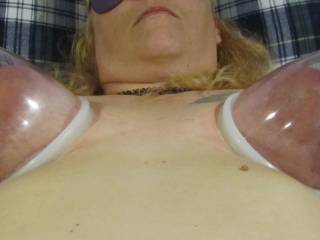 Hubby bought a new toy to use on me. I love pumping my pussy so I figured why not try my tits!
