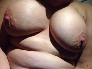 I love getting my hard nipples licked on. Wouldn\'t you like to lick on them?