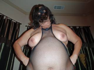 Oops...my tits fell out of my fishnet body stocking...hope you don't mind!