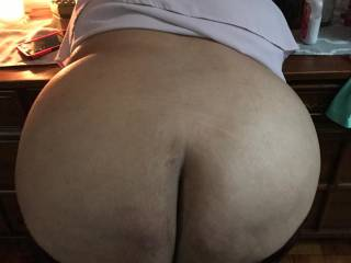 I love pulling my girl\'s pants down just enough to spread her big ass cheeks and fuck that giant Dominican ass of hers while she begs for more cock