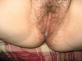 that is where my tongue should be !!! Catching all that black sperm dripping out of your awesome pussy