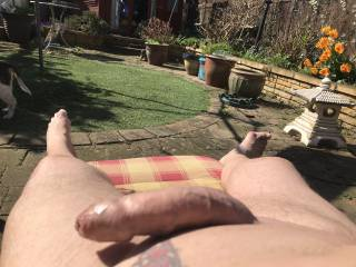 Nice and sunny in my garden, the hot sun on my cock gets. Me horny