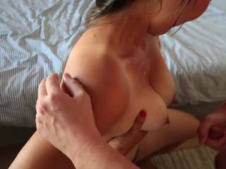 A friend came over for some fun and I recorded as he covered my GF with cum and she smeared it all over.