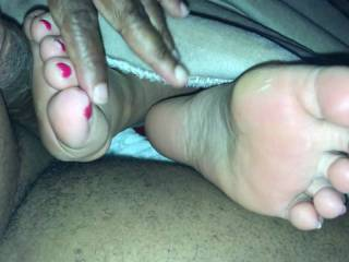 Sometimes you have to take matters into your own hands.... She had a long day and told me to help myself to an orgasm. Her soles feel so fantastic! So soft that no lube needed!! Switched from automatic to manual for this cumshot but it felt oh so good!!!