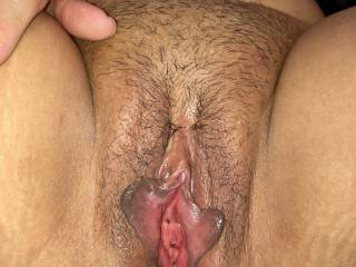Her licked pussy is wide open ready for cock or dildo