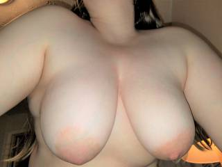 Who\'d like to give my big tits a nice firm squeeze and feel how soft they are?