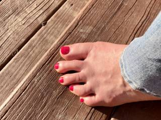 Wife got her pretty feet out on a nice day.