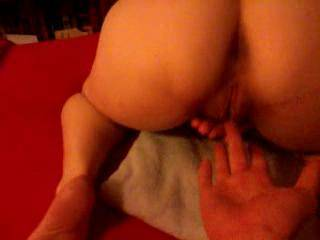 Her big ass bent over while I spread her ass you can here her bitching that her clit is too sore lol
