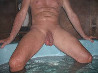 My Hubby in the spa at home. I think he has a lovely body and I especially love his thick cock and big balls. What do you think?