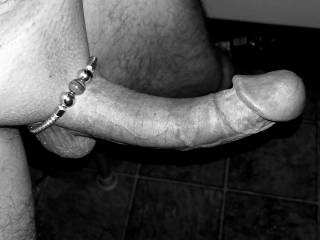 Wearing my wife\'s bracelet as a cock ring