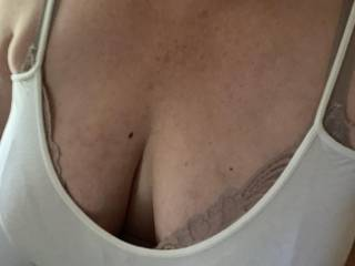 Wife's big cleavage  love tanks