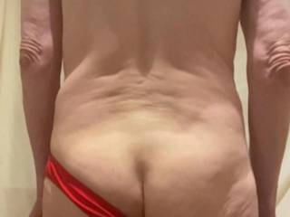 My cock and balls may be covered but my butt is rather exposed.