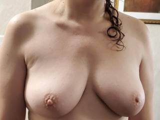 Who wants to cum all over her big titties?
