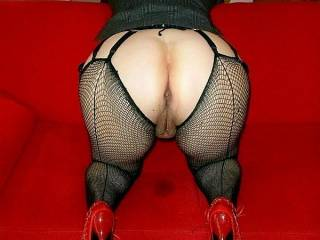 """Wanna Fuck my horny holes in that position.......what makes your fucking cock hard......my long seamed Fishnet Stockings around my Ass cheeks ?.......my fucking 7 inch Cfm Heels......or my fat horse Butt with my horny holes ??.......I want your Sperm all"