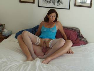 Candi Annie rides Al's cock and strikes an awesome pose showing off her pussy filled with cock...nicely trimmed as well!
